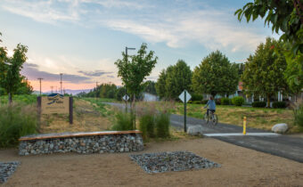 Bicyclist on the paved Appleway Trail.